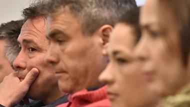 Perfiles. Desde la izquierda, Gatica, Correa, Figueroa, Mac Leod y Souza en el banquillo de los acusados.