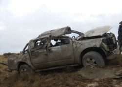 En el vehículo viajaban cuatro personas (fotos @BomberosMadryn)