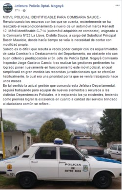 La noticia fue publicada en el Facebook oficial de la Jefatura de Nogoyá.