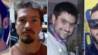 Dolor. Desde la izquierda, Vitton, Berra, Jones y Silvestri, las cuatro víctimas del trágico accidente.