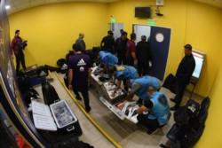 Policía de la Ciudad junto con integrantes de Conmebol inspeccionaron el vestuario de River.