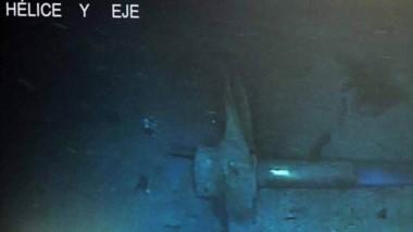 La imagen de la hélice del submarino a 850 metros de profundida que fue difundida por la Armada.