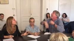 Papelón!.Momento en que el concejal radical Javier Mor Roig se despacha con una andanada de insultos contra la edil K, Victoria Tolosa.
