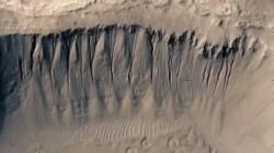 En su descenso en paracaídas, InSight tomó esta fotografía de cañadones marcianos y cráteres de meteoritos.