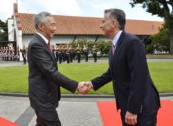 El presidente Mauricio Macri y el primer ministro de la República de Singapur, Lee Hsien Loong.