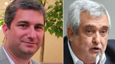 """Réplica. Gayone (izquierda) responsable de SocialData, refutó los cuestionamientos del """"Peludo"""" Di Filippo."""