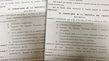 Facsímil de los dos decretos firmados por el gobernador Arcioni.