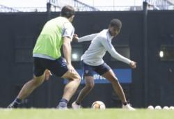 El colombiano Wilmar Barrios en el entrenamiento de esta mañana en La Boca.