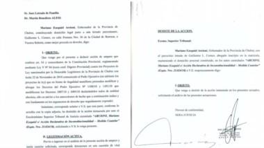 Documentos. La portada del amparo (izquierda) junto con el desestimiento de la vía del Superior Tribunal.