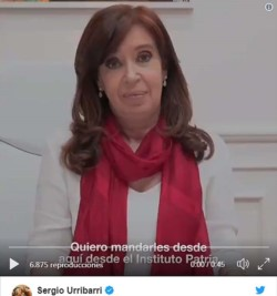 El mensaje de la conductora de Unidad Ciudadana, que se grabó en el Instituto Patria, está dirigido a los militantes que se reúnen en Villaguay, a quienes la senadora los saludó.