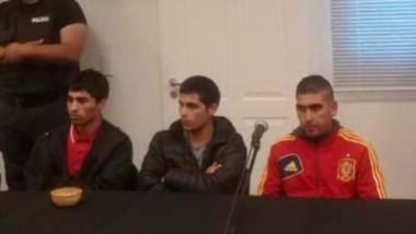 Jaime Muñoz, Emiliano Núñez y Facundo Méndez en la audiencia de control de detenidos en Rawson.