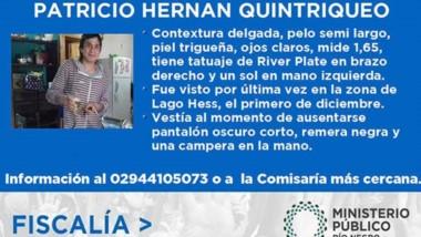 Patricio Hernán Quintriqueo está desaparecido desde el pasado 18.