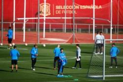 Foto del primer entrenamiento de Boca en Madrid.