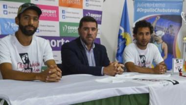 """Jesús Valle, Walter Ñonquepan y Darío Grillo, en la presentación del """"Cross Run"""" de Playa Unión."""