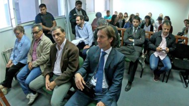 Acusados. En primera fila y desde la izquierda, Weinberger, Quilaleo, Rossi y Fossati durante la audiencia.