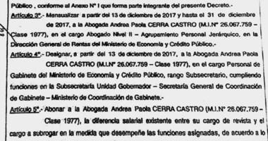 Decreto. La abogada fue mensualizada y designada pese al achique económico que intenta el Gobierno.