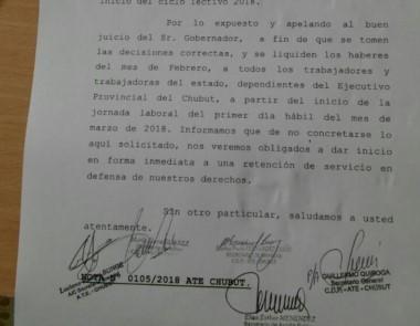 La nota elevada al gobierno provincial por dirigentes de ATE
