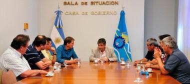 """Durante el encuentro Mammarelli destacó """"el apoyo"""" de la Cámara de la Construcción a la gestión del gobernador Mariano Arcioni."""