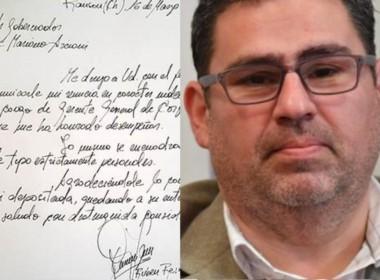 La carta de Rubén Reinoso donde presenta la renuncia a Arcioni.
