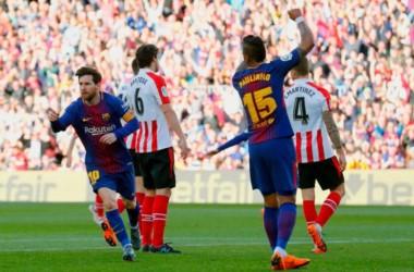 Barcelona sigue imbatible en casa y venció 2-0 a Athletic Bilbao por la Liga española.