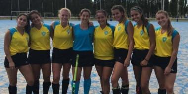 Las jugadoras de Trelew RC que viajaron con las selecciones Sub 18 y Mayor. Entre ellas falta Amparo García.