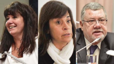 Gabriela Dufour, Alejandra Marcilla y Blas Meza Evans.