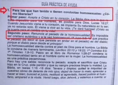 """Un colegio privado bautista de Paraná había preparado para sus clases de educación sexual material con frases como """"la homosexualidad es una práctica pecaminosa""""."""