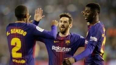Messi ingresó en el segundo tiempo en el empate de Barcelona, donde marcaron Dembele y Alcacer.