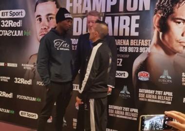 ¿El tamaño cuenta? Zolani Teté y Omar Narváez se conocieron ayer en Belfast y mañana deberán cumplir con el pesaje oficial del combate del sábado.