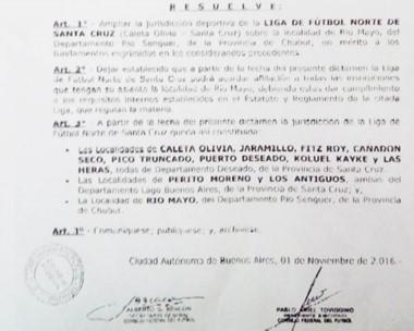 El documento que habilitó el cambio de Río Mayo a la jurisdicción de Caleta Olivia en 2016.