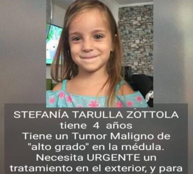 La familia Stefanía Tarulla Zottola realizó una campaña de ayuda económica para tratarse en el exterior.