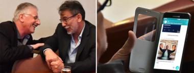 Postales. Jerónimo García muy sonriente con su colega Eduardo Conde en Fontana 50, y recibiendo un mensaje con González de protagonista.