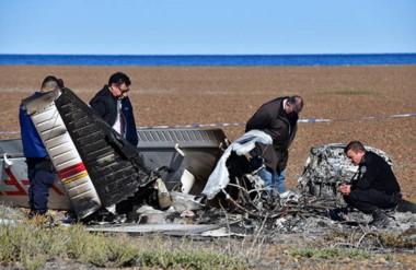 La avioneta siniestrada en un campo de la Península Valdés. En el accidente fallecieron dos mujeres.