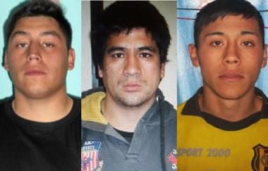 Buscados. Desde la izquierda, Mauro Cornejo, Franco González y Rocco Lucca, los tres evadidos del penal.