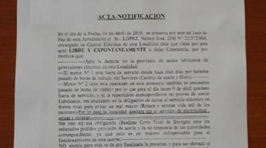 Acta. El documento donde quedó plasmada una situación que refleja la crisis de los servicios públicos.
