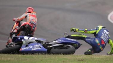 Márquez tiró a Rossi en el giro 20 de la prueba disputada en Termas.