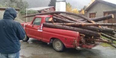 Uno de los procedimientos incluyó frenar la marcha peligrosa de esta Ford F-100 cargada de troncos.