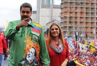 Imagen del último acto de Maduro, que contó con la presencia de Diego Maradona.