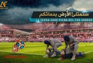 Fotos enfermizas muestran a Messi y Ronaldo aplastados contra el piso por jihadis enmascarados en un estadio de fútbol lleno.