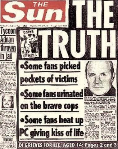Esta fue la portada de The Sun tras la tragedia de Hillsborough: 'La Verdad'. El medio inglés defendía que la afición del Liverpool robó a las víctimas, orinó sobre la policía y atacó a los encargados