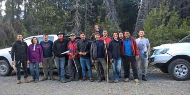 Todos los integrantes del equipo que está desarrollando la tarea en la región patagónica.