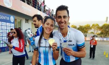 Los novios Rocío Berbel y Juan Cruz Araldi son oro y plata en patín carrera.