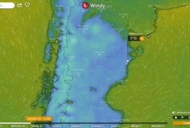 Una enorme masa de aire frío se apoderará de toda la región patagonica a partir de este martes y por una semana. (Windy.com)