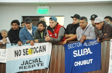 Los trabajadores del sindicato portuario manifestaron su malestar con la ley en la Legislatura.