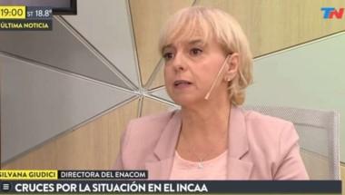 Giúdici en un programa del canal de noticias TN, del Grupo Clarín, al que siempre se la vinculó.