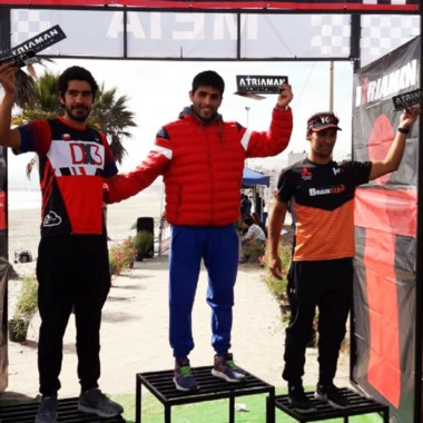 El chubutense Junior Mansilla en lo más alto del podio, en Coquimbo.