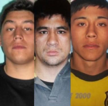 Buscados. Mauro Cornejo, Franco González y Rocco Lucca, los tres evadidos de la Alcaidía de Trelew.
