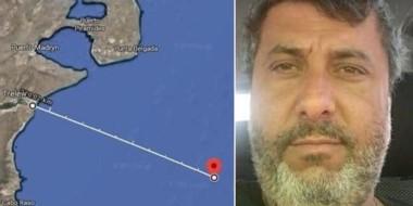 """El lugar en donde perdió contacto el  pesquero""""Rigel"""", que era capitaneado por Salvador Taliercio."""
