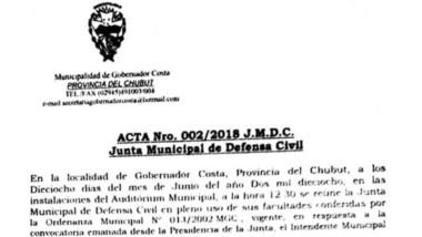 El comunicado emitido por la Junta Municipal de Defensa Civil.