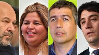Protagonistas. Desde la izquierda, el fiscal Rodríguez y los sospechados: Huichaqueo, Suárez y Gilardino, los tres involucrados por primera vez.
